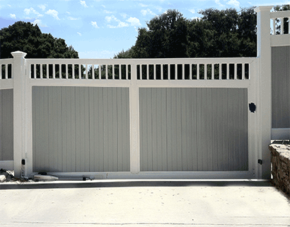 Custom vinyl driveway gates los angeles ca buy gates simi valley vinyl driveway gate two tone solutioingenieria Gallery