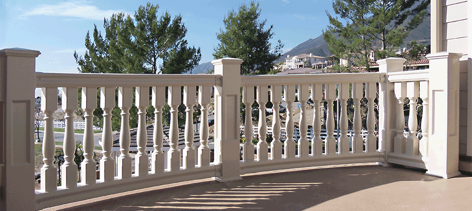 "Pilar Balcony Railing Standard Sizes:  36"" - 42"" - 48"" high Custom sizes available.   6 variety colors to choose from."