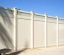 Vinyl Privacy Fencing with Lattice and Solar Caps